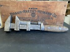 "Vtg Wooden Handled P.S.&W. Co Solid Bar Adjustable Wrench 12"" Pat. Jan 14, 1896"