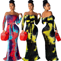 Women's Bandeau Long Sleeve Mermaid Print Bodycon Evening Party Club Dress Ball