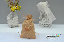 Hessian Favor Bags Wedding 25 x Burlap Wooden Mr Mrs Hearts Goody Fillers Thanks