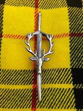 Scottish Stag Head Kilt Pin Brass Antique Finish Brooch Kilt Pin Scottish Pin