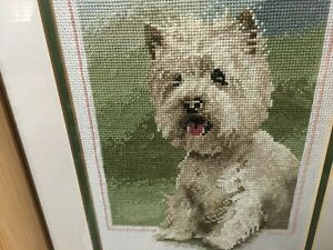 Counted Cross Stitch Framed Glazed Picture - White Scottie Dog