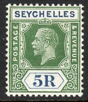 Seychelles1921 yellow-green/blue 5r multi-script CA mint SG123