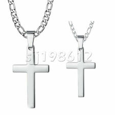 Mens Women Silver Cross Pendant Necklace Stainless Steel Figaro Chain 18