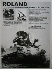 3/1975 PUB EUROMISSILE MISSILE ANTI AERIEN ROLAND AMX 30 GIAT ORIGINAL FRENCH AD