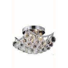 "World Crystal  Crown 10"" 4 Light Crystal Flush Mount Ceiling Light Chrome"