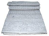 Indian Vintage Queen Print Kantha Quilt Throw Reversible Cotton Bedspread Gudari
