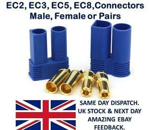 EC2 EC3 EC5 EC8 Connectors Male Female Pairs Plugs Socket lipo Battery EC- RC UK