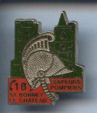 RARE PINS PIN'S .. POMPIER FIRE EGLISE CASQUE ST BONNET LE CHATEAU 42 ~W1