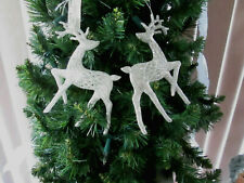 "4"" - Silver Glitter Reindeer Christmas Ornaments 2 pc. , New"