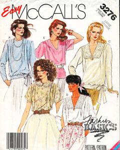McCall's 3276 ©1987 MISSES ROMANTIC BLOUSES Sizes L 18-20, FF