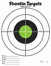 50 Black and Green Bullseye (8.5x11) Paper Shooting Targets for handgun, rifle