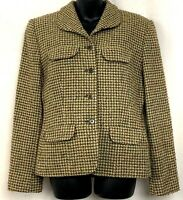 Jones New York Womens Blazer Houndstooth Check Jacket Beige Button Up Size 10