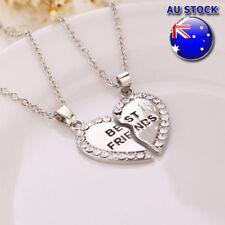 Stylish Best Friend Love Heart Cubic Zirconia 2 Pendants Necklace Bff Friendship