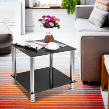 2 Tiers Shelf Black Clear Glass Side End Coffee Lamp Table Living Room Stand