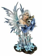 More details for large winter fairy and wolf companion sculpture statue mythical creatures gift