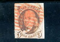 USAstamps Used FVF US 1847 Franklin Scott 1 Red Brawn Cancel Repaired