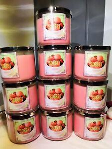 10x Bath Body Works Strawberry Sorbet NWT 3 Wick Large Candle 14.5oz