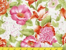 Big Hot Pink Red & White Flowers Quilting Fabric by Yard  #193