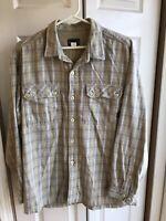 Men's Patagonia Grey Plaid Flannel Shirt Button Down Organic Cotton Size Medium