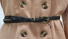 Black Thin Belt With Plaited Details 104cm- B1091/NFA100914