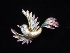 """JJ"" Jonette Jewelry Gold Pewter 'Purple & Turquoise Up-Winged BIRD' Pin"