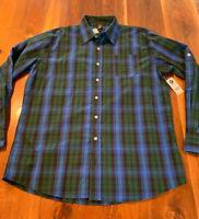 NWT Men's Timber Blue/Green Plaid Long Sleeve Button Up Shirt Size XL