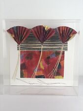 Akiko Sugiyama Red Fans 3 Mixed Media Abstract Sculpture In Shadow Box