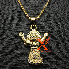 Baby Jesus Christ Pendant Stainless steel 18K Yellow Gold Plated Charm 3MM 24""