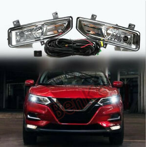 FIT for 2020 Nissan Rogue Sport Front fog lamp Kit w/Bulb Switch Cable 1set