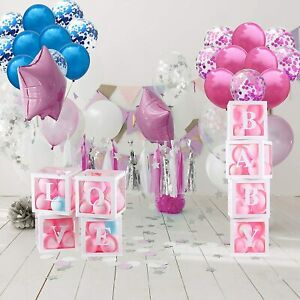 46 Pcs Gender Reveal Party Decorations Set, Gender Reveal Balloons - Clear Baby