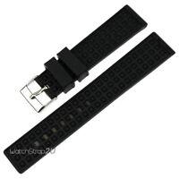 20mm Black Rubber Watch Band Strap Waterproof Wristwatch Silicone Bracelet Men