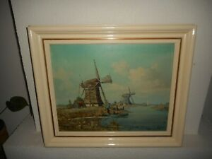 Old oil painting,{ Windmills near a river, is signed, nice frame! }.