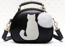 Elegante donna nero in finta pelle tutti i giorni doppia cerniera borsa con gatto bianco
