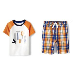 Gymboree Boys 2021 Mr. Fix It Tools Top Shirt Plaid Shorts Outfit Nwt Size 6