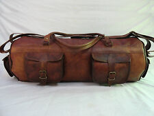 """28"""" Large Real Brown Leather Duffle Hold-All Bag Travel Luggage Sports Gym Bag"""