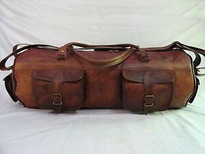 "28"" Brown Leather Duffle Bag Travelling Luggage Sports Gym Handbag Large Duffel"