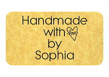 65 HANDMADE WITH LOVE PERSONALISED CARD,CANDLES, SOAP, SEWING STICKERS (ML63)