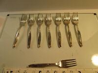 """Wm Rogers """"Sweep"""" Silverplate Flatware Silverware Salad Fork   (8 total)"""