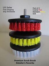 "3x Scrub Brush Upholstery Car Seat Carpet Mat 5"" Round w/ Power Drill Attachment"