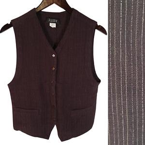 VTG EILEEN FISHER Brown Pinstripe Wool Blend Menswear-Inspired Vest S TTCB