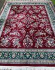 New Fine Floral Oriental Rug Handmade in India, Burgundy & Emerald Green, 9x12