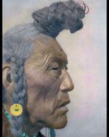 "BEAR BULL 1926 BLACKFOOT NATIVE AMERICAN INDIAN 8X10"" HAND COLOR TINTED PHOTO"