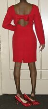 1990s vintage sexy cherry red bow backless dress size 10 petite large medium 10p