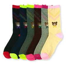 6 Pairs Women Cute Teddy Bow Tie Long Crew Comfort Socks Pack 9-11 Lot