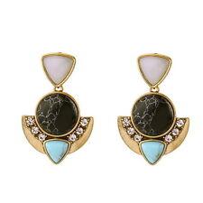 Fashion Black & Turquoise Stone Earrings with Crystal Capri Post Drop Earrings