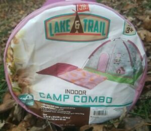 Indoor Camp Combo Girls 2 Piece Set Tent/Sleeping Bag Castle Lake & Trail