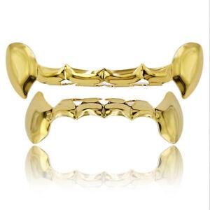 14k Gold Plated Hip Hop Teeth Grillz for Women Men Fangs Top Bottom Set Custom