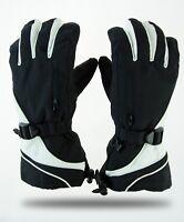Women's Winter Ski Snowboarding Gloves Warm Black White Thermal Zipper Sports