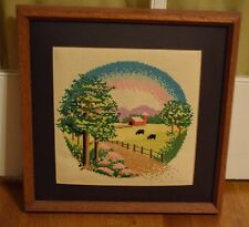Framed Completed Cross Stitch Country Farm Scene with Red Barn Wood Frame 14.5""