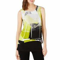 ALFANI NEW Women's Green Multi Layered-look Split Back Blouse Shirt Top XS TEDO